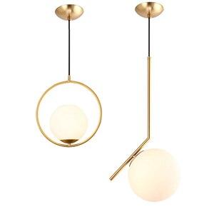 Image 2 - 20cm Modern Glass Ball Pendant Light Fixture Round Iron luminaire Metal Lamp Designer Glass Luster