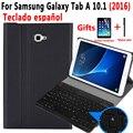 Clavier espagnol étui pour samsung Galaxy Tab A A6 10.1 2016 SM-T580 SM-T585 T580 T585 Tablette Housse En Cuir Bluetooth Clavier