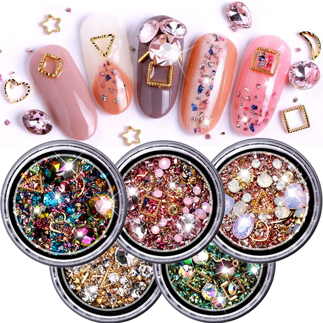 ViiNuro 1 Box Mixed Colorful Rhinestones For Nails 3D Crystal Stones For Nail Art Decorations Diy Design Manicure Diamonds