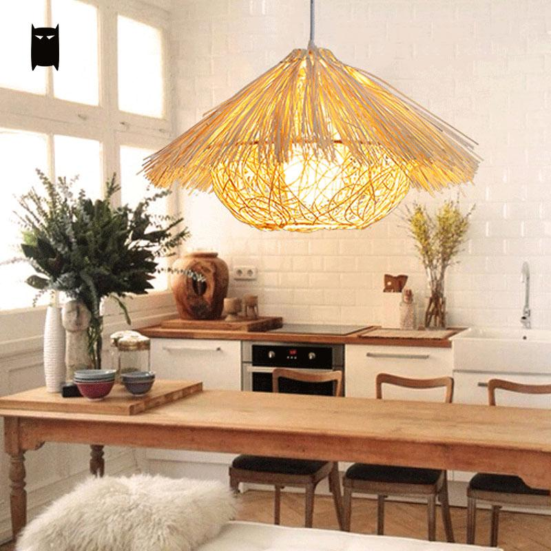 Natural Wicker Rattan Nest Pendant Light Fixture Rustic Asian Japanese Art Style Hanging Lamp Luminaria Indoor Home Dining Room natural black bamboo wicker lampshade hat large pendant light antique chinese asian rattan hanging ceiling lamps foyer lighting