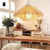 Natural Wicker Rattan Nest Pendant Light Fixture Rustic Asian Japanese Art Style Hanging Lamp Luminaria Indoor Home Dining Room|dining room|pendant light fixture|light fixtures rustic -