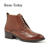 BeauToday Martin Boots Women Brand Brogue Style Wingtip Ankle Length Lace-Up Genuine Calf Leather Ladies Shoes Handmade 03233