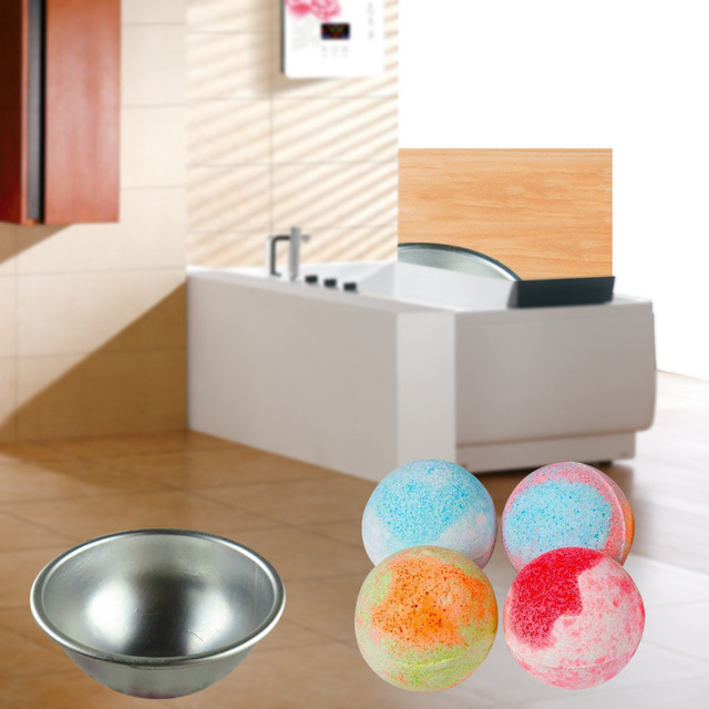 Mini Aluminum Alloy Shallow Semicircle Bath Bomb Salt Ball Metal Mold 3D Sphere Shape DIY Spa Tool Accessories 1PC 5.5*2.5cm 4