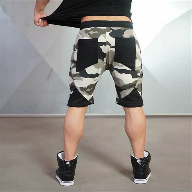new arrival  Mens tight bodybuilding camouflage shorts workout Gym running shorts 6 colors 6