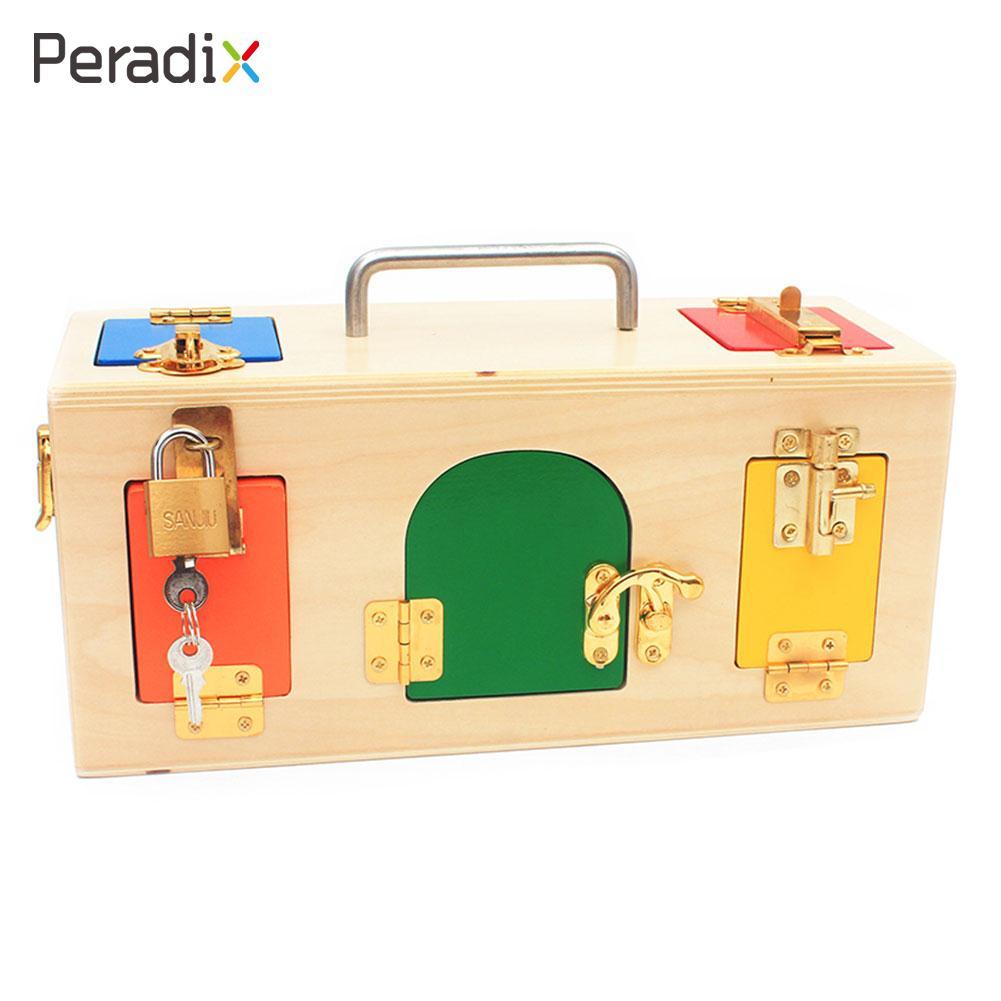 Fun En Bois Jouet Éducatif Montessori Matériaux Verrouiller Belle Serrure De Boîte De Cadeau Boîte Montessori Verrouillage Enfant L'éducation Serrure et Clé Jouet