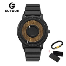 EUTOUR Magnetic Watch Men Luxury Silicone Leather Steel Strap Ball Show Quartz Wrist Watch Mens Wristwatch Dropshipping 2019