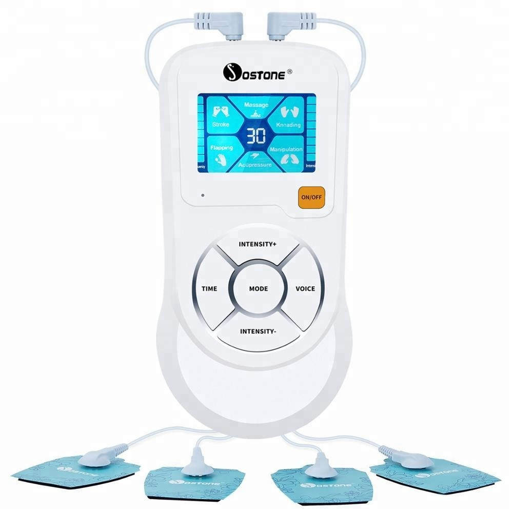 Stimulateur musculaire unité de dizaines numérique avec 4 coussinets pour soulager la douleur
