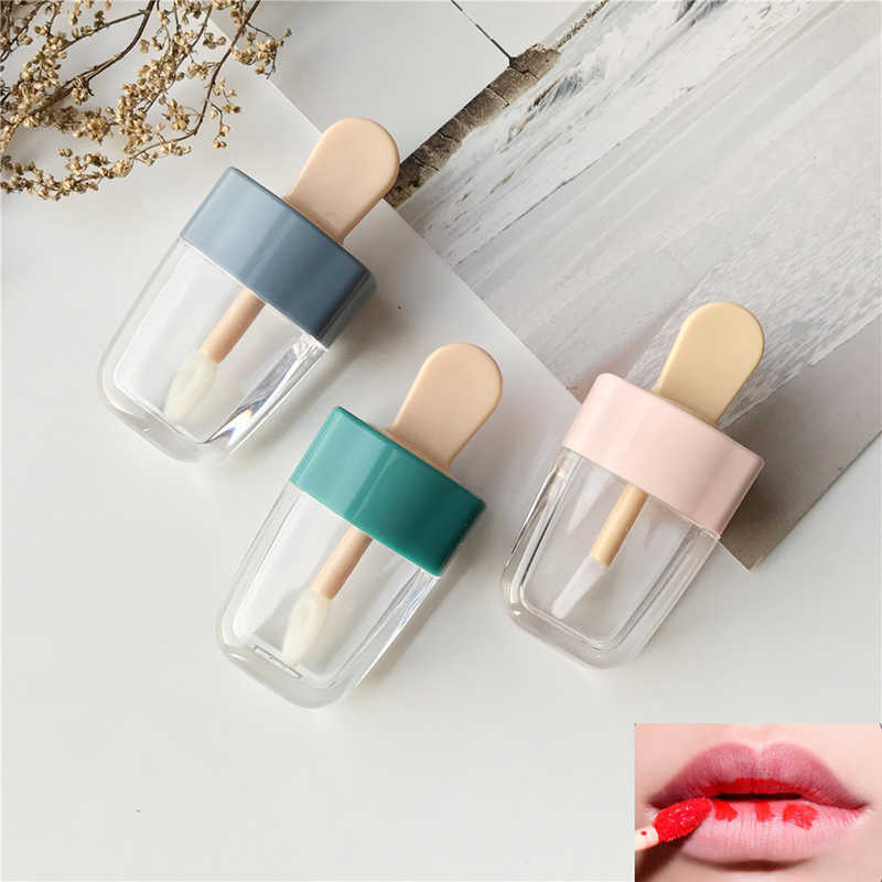 1 PC Kosong Lip Gloss Tabung Wadah Cream Toples DIY Membuat Alat Kosmetik Ice Cream Transparan Lip Balm Isi Ulang botol