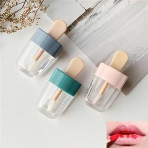 Image 1 - 1pc空のリップグロスチューブ容器クリーム瓶diyブラシメイクアップツール化粧アイスクリーム透明なリップクリーム詰め替えボトル