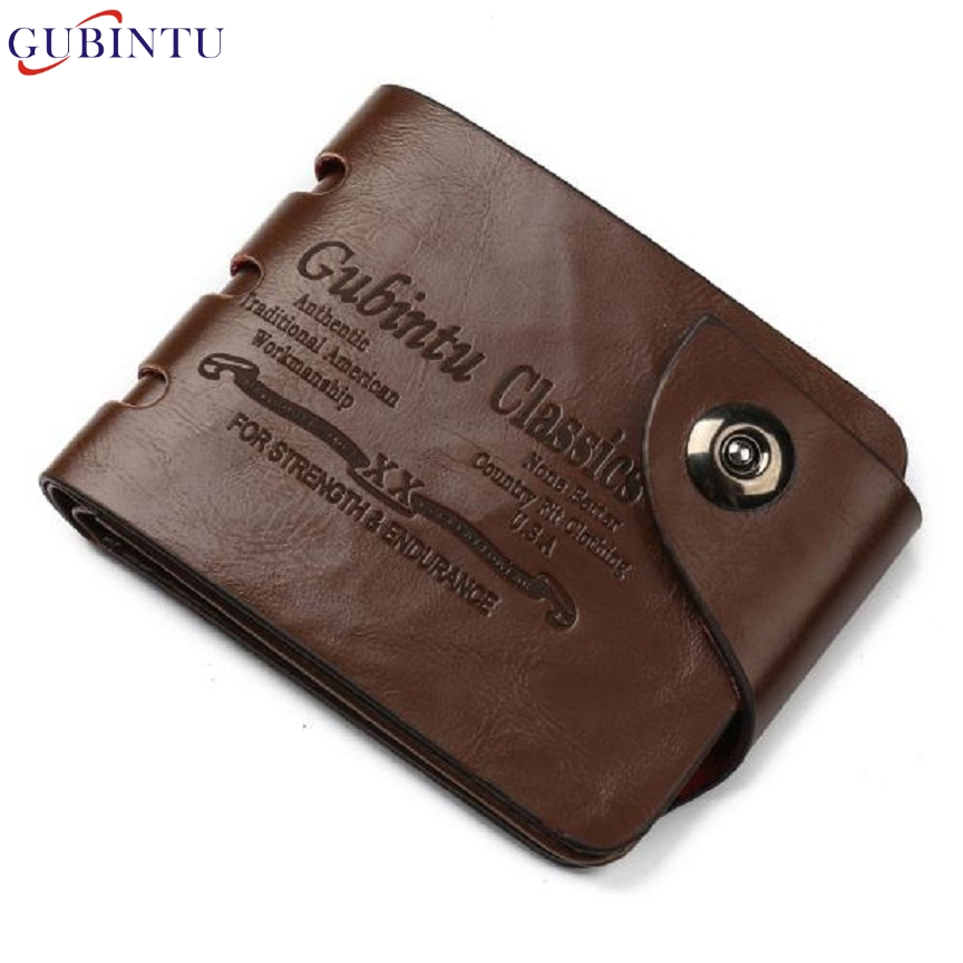 Naivety 2016 New GUBINTU Men Mini PU Leather Credit Card ID Coin Money Clip Short Wallet Monedero 11S60930 drop shipping
