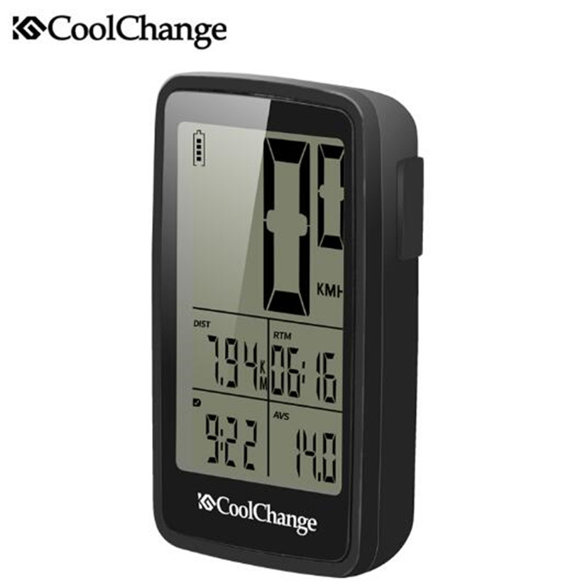 CoolChange USB Rechargable Bike Computer Wireless Rainproof Speedometer Odometer Cycling Stopwatch Cycle