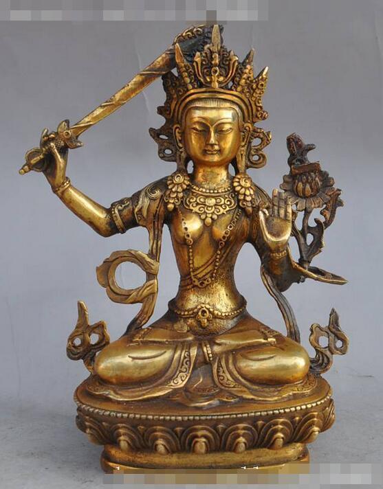 Old Tibetan Buddhism Bronze Kwan-yin White Tara Buddha Statue 22cm