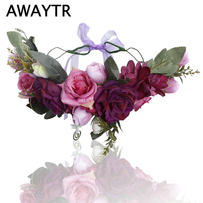 AWAYTR Handmade Rose Flower Crown Garland Floral Headband For Women Wedding Hair Accessories Travel Festival Girls   Headwear