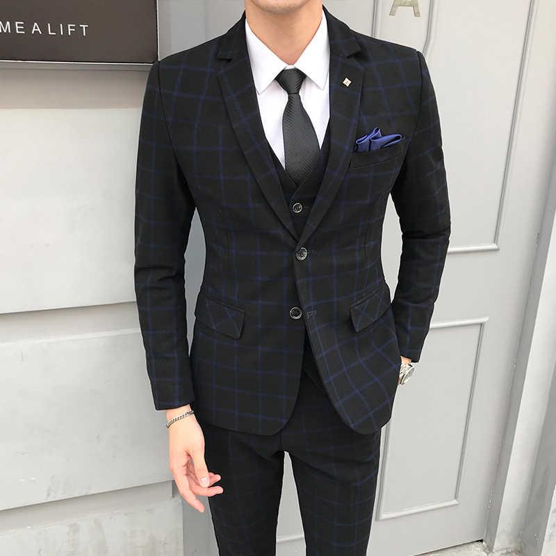 Conjuntos de Fatos dos homens Xadrez britânico 2019 Outono Nova Roupas de Festa Formal do baile de Finalistas Do Vestido de Casamento de Alta Qualidade 3PCS (jaqueta + Colete + Calça) 5XL