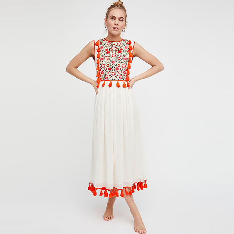 TEELYNN white boho dress floral Embroidery o neck sleeveless summer dress tank tassle fringe beach dress