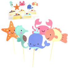 Underwater World Picks Baby Shower Birthday Party Cake Decoration Supplies Fish Crab Starfish Sea Animal Cupcake Toppers(China)