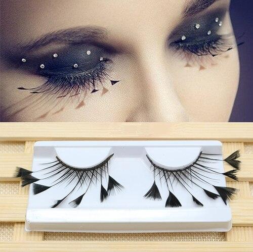 1 Pair Personality Feathers Exaggerate False Eyelashes Stage Catwalk Art Fake Eyelashes 100% Handmade Eyelash Extension Tool