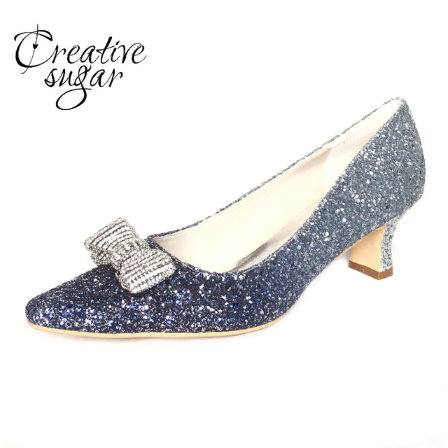 b7bee1d2a35 Creativesugar low heel 3D metallic Gradient light blue glitter party prom  night club red carpet pointed shoes with crystal bow