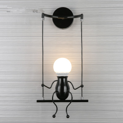 Creative LED Wall Mounted Small Man Swing Children's Room Bedroom Bedside Aisle Wall Sconces Little Boy Art Decor Wall Lamp