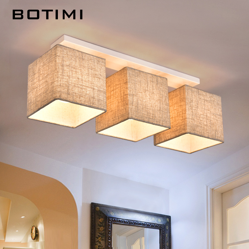 BOTIMI American Country Style Cloth Ceiling Light With Fabric Lampshade Surface Mount Lightings For Dining Living Room Bedroom american country style small balcony ceiling light diameter 400mm