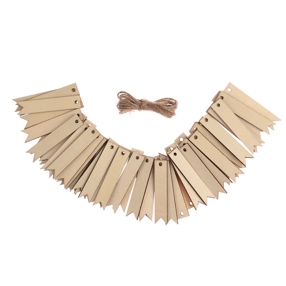 50Pcs/Set Unfinished Blank Rectangle Wooden Hanging Tags For Scrapbooking Party Favor Wedding Gift Tags with Rope