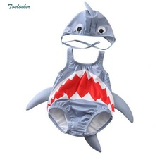 цены baby boys girls cartoon swimwear shark swimming suit summer infant toddler kids children spa beach bathing Rompers hat costume