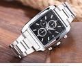 LONGBO Brand Korean Top Quality Man Waterproof luminous square quartz Wristwatches men's Full Stainless Steel Sports Watches