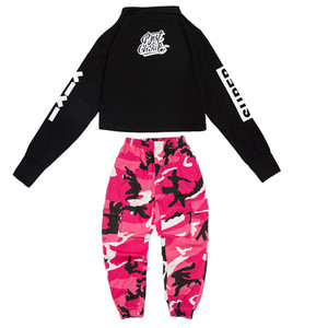 Image 3 - Girls Jazz Dance Costumes Hip Hop Suit Long Sleeve Children Kids Street Dancing Clothes Performance Show Out Clothing 120 180