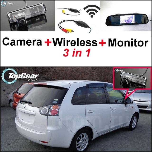 3 in1 especial cámara + receptor inalámbrico + monitor del espejo diy sistema de aparcamiento para mitsubishi asx rvr outlander sport 2010 ~ 2015
