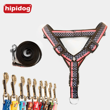 Hipidog Pet Dog Print Leash Harness Belt Adjustable Durable Leashes Set Heavy Duty Nylon Lead For Training Walking Running