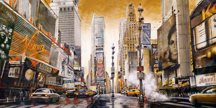 cities landscape vintage posters canvas paintings New York street view scenery murals home decorative art
