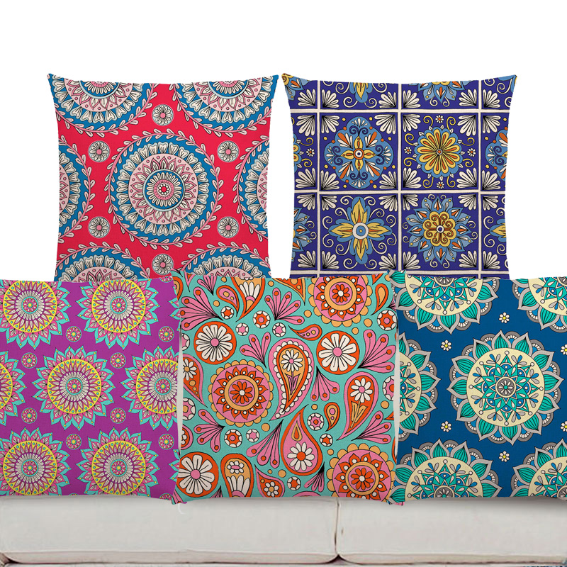 throw pillows Boho Colorful Sunrise Rainbow Diamond Flowers Blossom Paisley Cushion Cover Mandala Prints  Sofa Throw Pillow Case