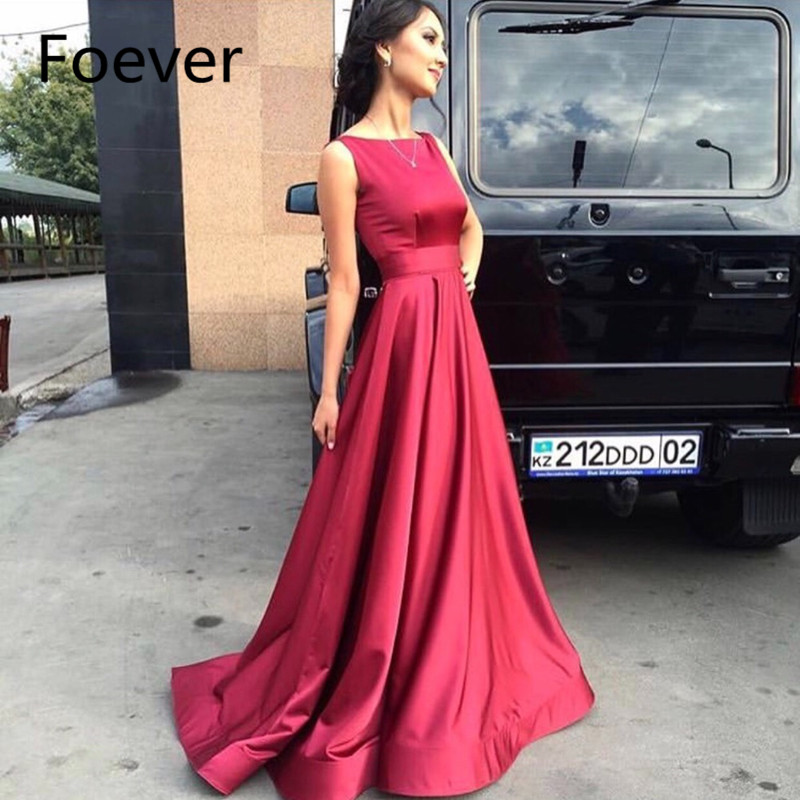 Simple Evening Dress 2019 Red Soft Satin Evening Gown Horse Hair Hem Jewel Neck Long Burgundy Prom Dress Robe De Soire