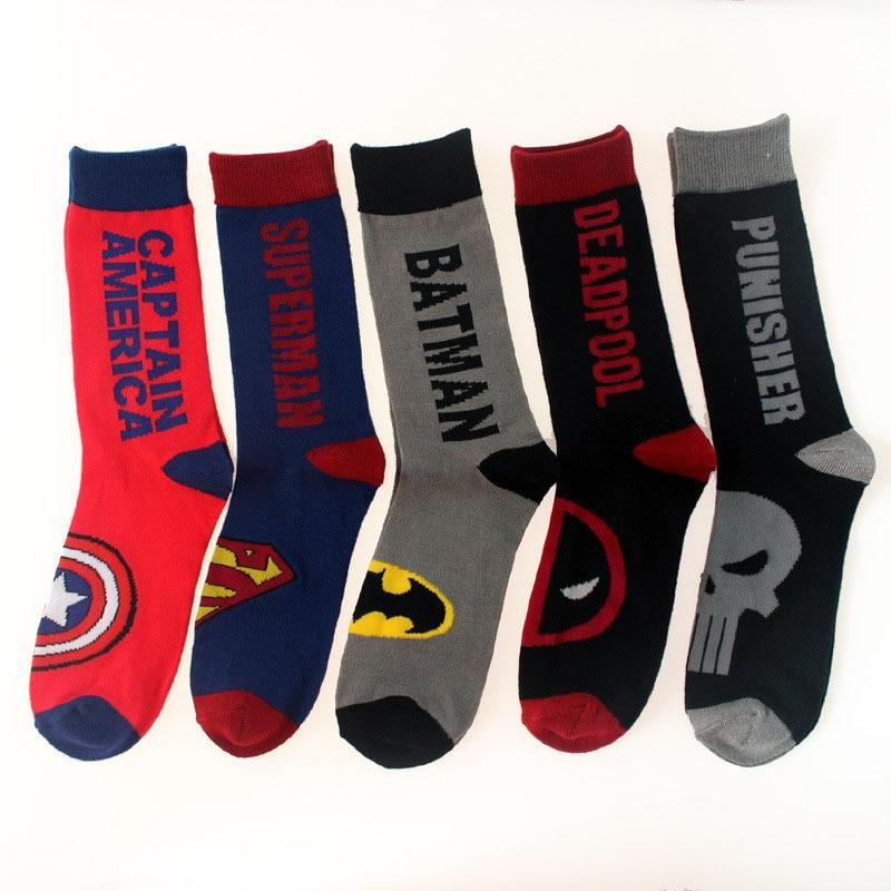 Super Hero Cartoon Adult Socks Straight Socks Cotton Christmas Socks Men Spiderman Sport Long Socks For Boys More Than 10 T