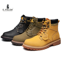 Genuine Leather Men Working Boots Shoes 2017 Winter Martin Ankle Boots British Style Vintage Fashion Men Military Boots Hot Sale