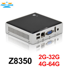 Partaker Intel Mini PC Windows 10 Ubuntu Intel Z8350 Quad Core 2G 4GB RAM Mini PC HDMI Business Household Mini Computer PC Micro
