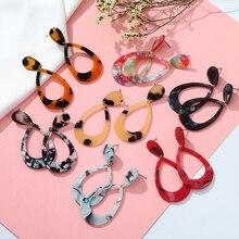 European Style Fashion Earrings Geometric Acrylic Hollow Water Drop Ladies Elegant Jewelry Leopard Red Yellow