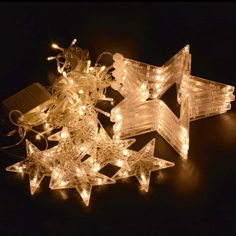 220V СИД Curtain string lights 2M 12pcs star 8 Режимдер - Мерекелік жарықтандыру - фото 4