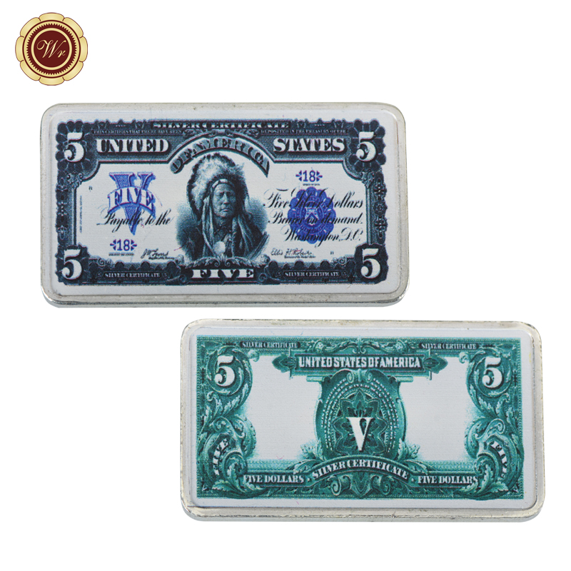 WR 1899 Year <font><b>5</b></font> <font><b>Dollar</b></font> Currency <font><b>Bill</b></font> Note Fake Bar Business Souvenir Gifts Metal Bars Luxury Artwork for Collection image