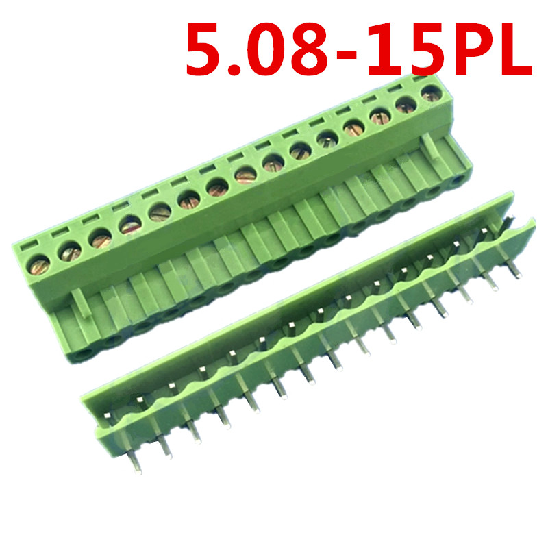 10sets 15 Pin PCB Electrical 5.08mm Pitch Plug Looper Angle Bend pin Green screw connectors terminal block Pin header and socket