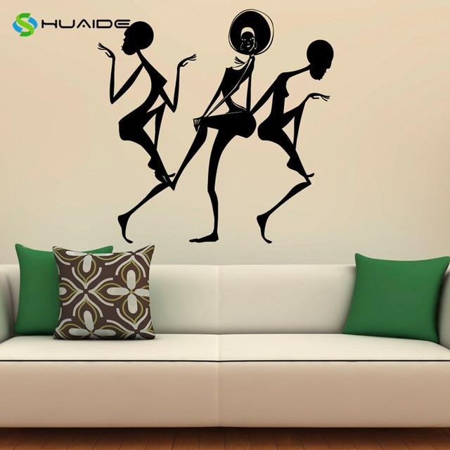 Afrika Afrikanische Tanzen Mädchen Wandtattoo Vinyl Aufkleber  Pvc Wand Aufkleber Wand Aufkleber