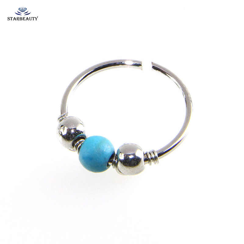 Silver Color Stone Nose Ring Septum Daith Piercing Jewelry Fake