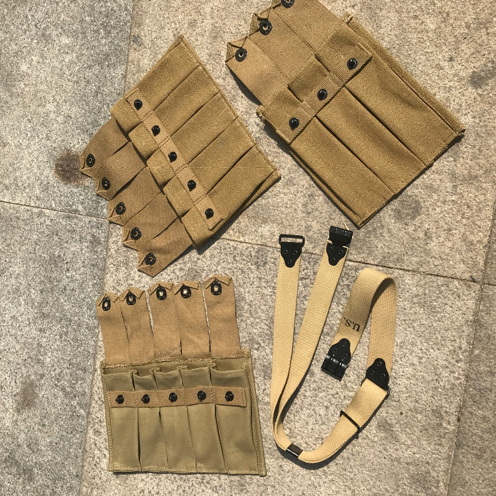 WW2 US ARMY USMC 5 CELL AND THOMPSON 5 CELL 3 CELL AND THOMPSON STRAPS COMBINATION цена