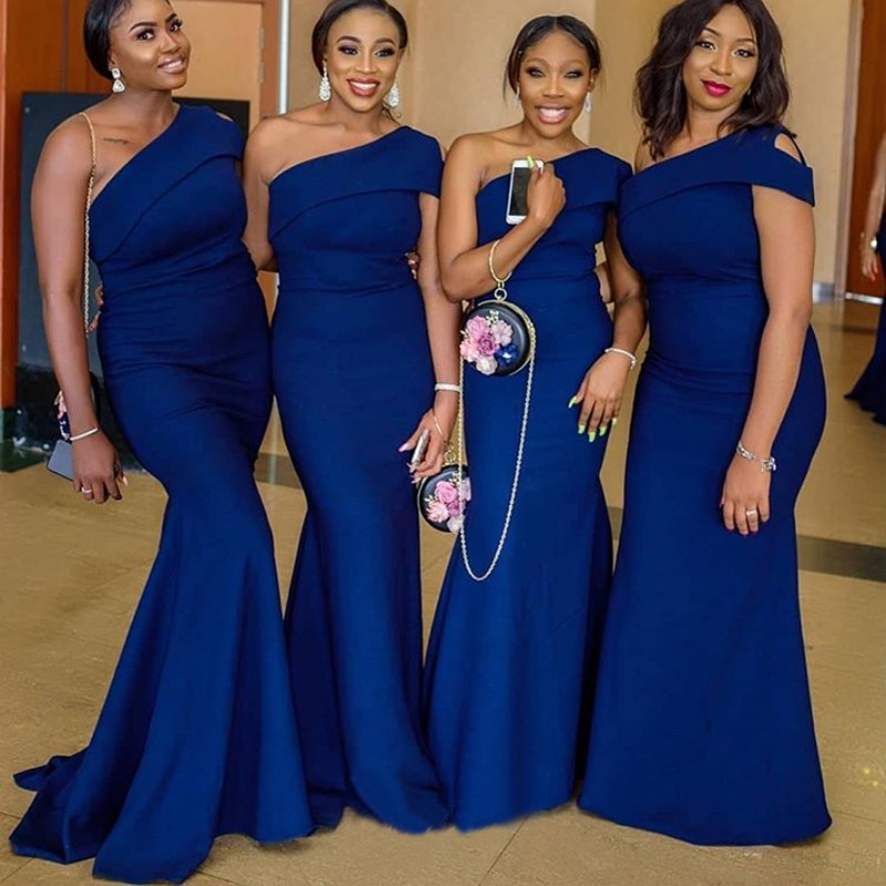 Robe demoiselle d'honneur Mermaid Royal Blue One Shoulder   Bridesmaid     Dresses   2019 Plus Size African Prom   Dress   Party Gowns