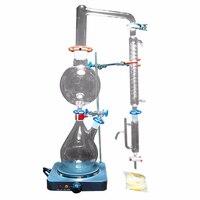 New 2000ml Lab Essential Oil Steam Distillation Apparatus Glassware Kits Water Distiller Purifier w/Hot Stove Graham Condenser|Distillers| |  -