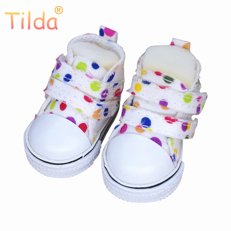 Tilda 5cm Canvas Sneakers For BJD Doll,Mini Textile Doll Boots 1/6 Polka Dots Designer Sneakers Shoes for Handmade Doll Masters tilda 5pairs lot 5cm canvas sneak for bjd doll mini textile doll boots 1 6 polka dots designer sneakers shoes for handmade dolls