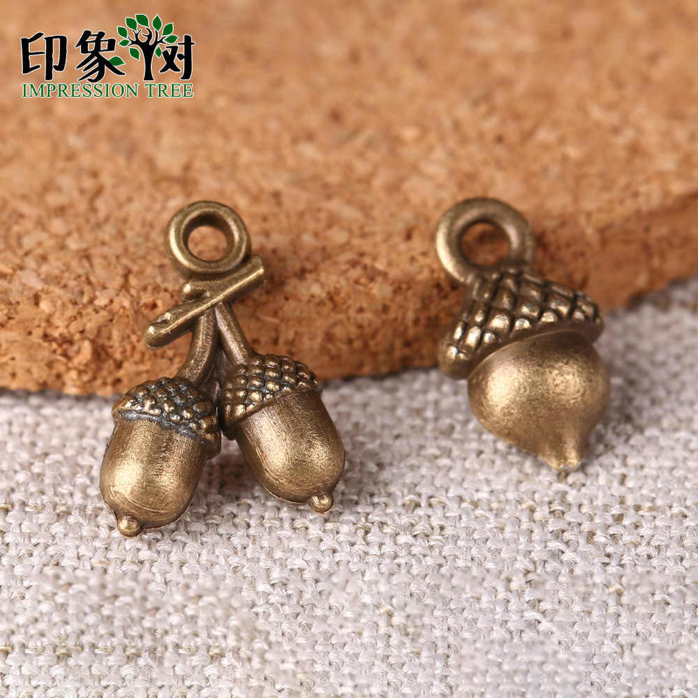 10pcs 7*12/10*14mm Zinc Alloy Charms  Bronze Acorn Tow Style Charms For DIY Jewelry Making Bracelet Accessories Handmade 27024