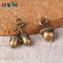 10pcs 7*12/10*14mm Zinc Alloy Charms Bronze Acorn Tow Style Charms For DIY Jewelry Making Bracelet Accessories Handmade 27024(China)