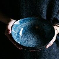 KINGLANG Ceramic Sim Blue Rice Soup Noodle Bowl Ramen Noodle Bowl Tableware
