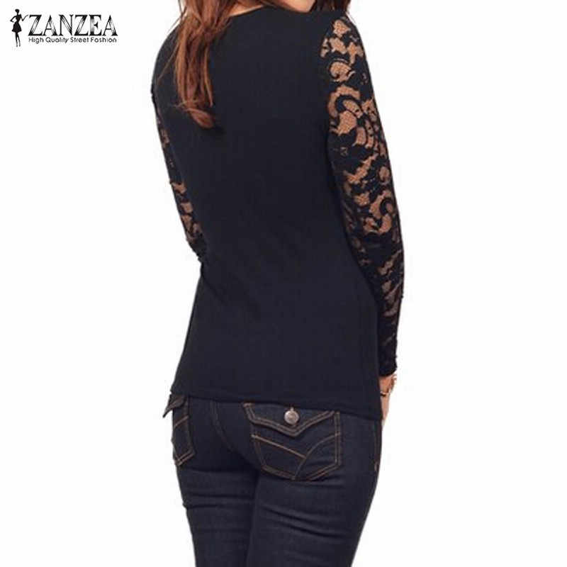 2019 Herfst Vrouwen Blusas Sexy Lange Mouwen Lace Haak Sexy V-hals Elastische Blouses Casual Tops Solid Shirts Plus Size s-5XL